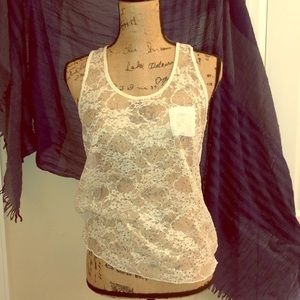 Cream and gold sequin top
